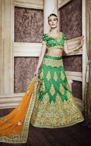 Green Velvet, Georgette & Silk Bridal Lehenga Choli ,Indian Dresses - 1