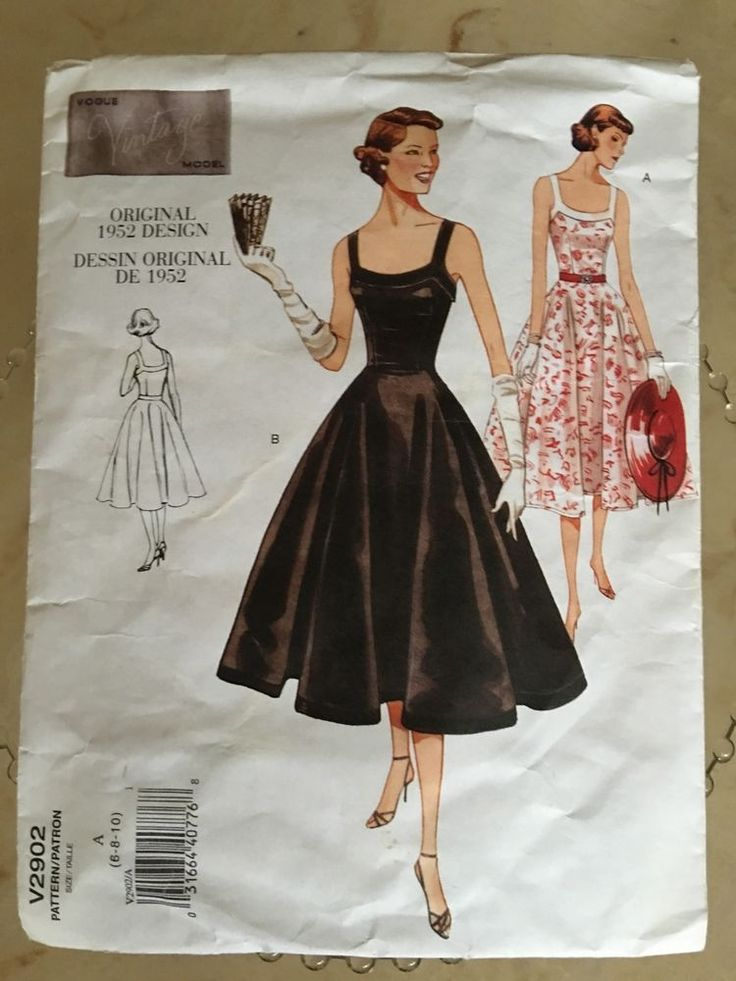 VOGUE V2902 VINTAGE MODEL ORIGINAL 1952 DESIGN LADIES COCKTAIL DRESS SZ 6 8 10 #Vogue