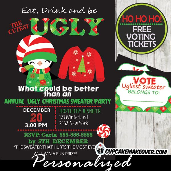 Printable Ugly Christmas Sweater party invitation and voting ballots ...