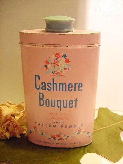 1950s Cashmere Bouquet Pink & Blue Talcum Powder Advertising Tin Vintage Colgate Palmolive Talc 5.5inch on Etsy, $9.95