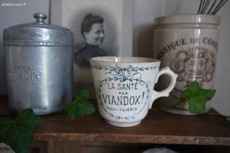 Ancienne tasse Viandox Brocante de charme atelier cosy.fr