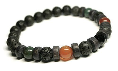 Handmade Unisex/Mens Gemstone Bracelet for Depression, Anti Anxiety, Stress Relief with Carnelian, Bloodstone, Black Onyx, Lava stones, Healing Holistic Jewelry,Aromatherapy, Oil Diffuser