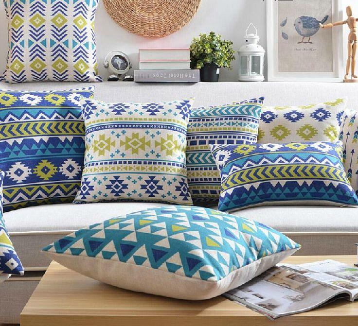"""18 """" praça linho almofada de algodão geométrica Ikea sofá cadeira carro casa decorativo jogar travesseiro fronha almofadas alishoppbrasil"""
