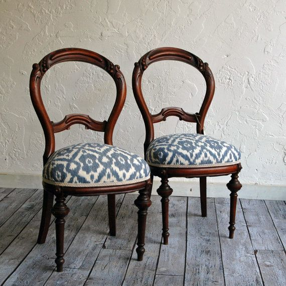 Pair of newly upholstered Victorian Balloon Back Chairs with woven cotton Ikat fabric by territoryhardgoods, $350.00