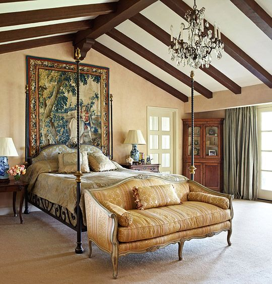 Decorating Ideas: Beautiful Neutral Bedrooms - Traditional Home®... Love using the tapestry for the scale of the room.