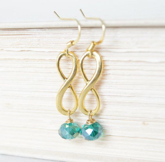 Teal Infinity Earrings