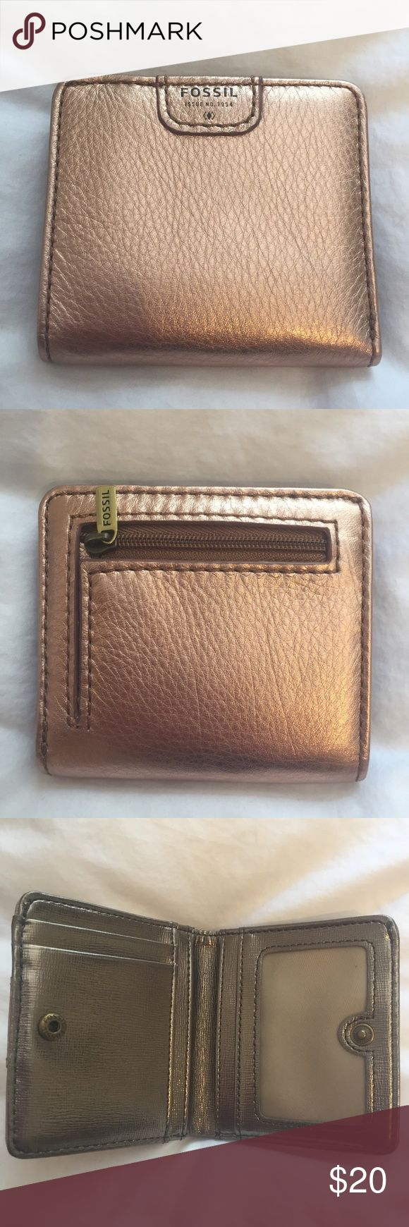NWOT rose gold Fossil wallet NWOT bifold rose gold Fossil wallet with snap closure. 7 card slots including ID slot. Fossil Bags Wallets