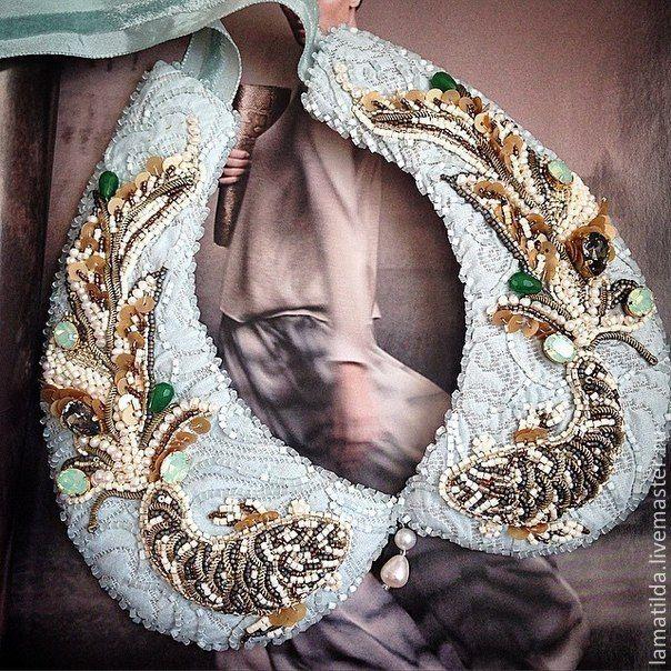 """Купить Воротник -колье """"Желание"""" - золотой, воротник с вышивкой, воротник-колье, Колье с жемчугом, рыбки"""