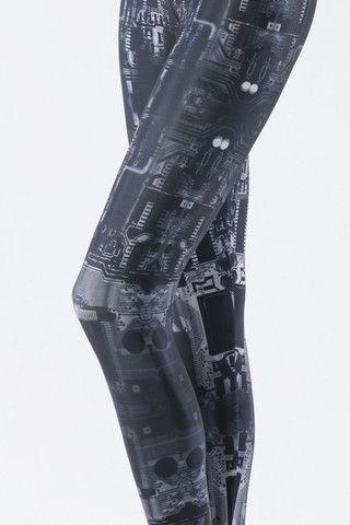 Circuit Board Grey Leggings