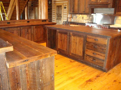Kitchen Cabinets Made From Barn Wood