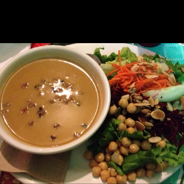 Spiced yam soup and salad. Rebar, Victoria BC. Amazing restaurant.