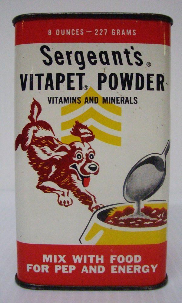 "Vintage Empty 1950's – 1960's SERGEANT""S VITAPET POWER Metal Tin"