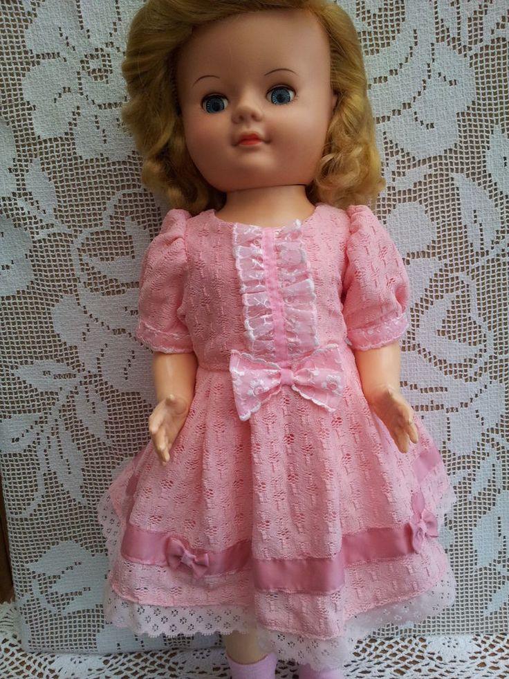 """SalStuff Pink Lined Lace Dress Bow for 22"""" Vintage Doll Pedigree Walker 50/60's"""