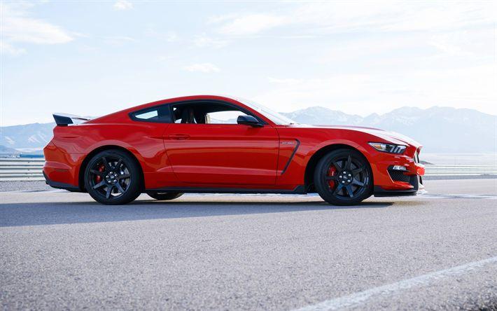 Download imagens Ford Mustang, Shelby GT350, Carro desportivo, Mustang vermelho, Mustang tuning, carro de corrida, Ford