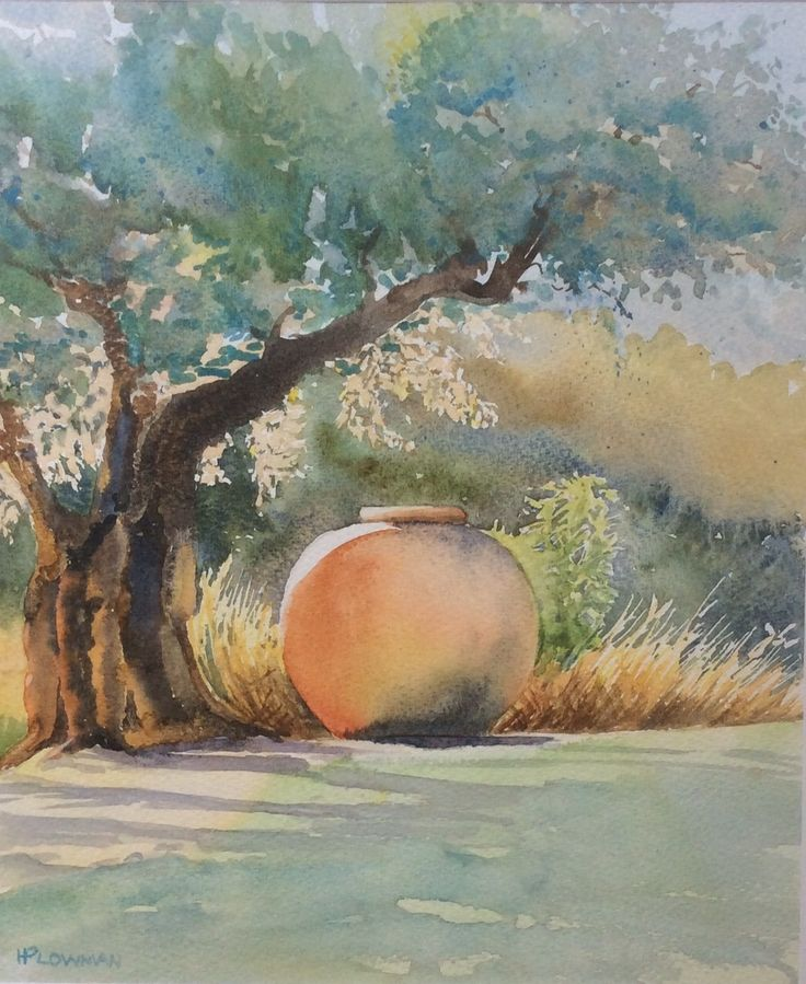 The olive jar  watercolour by Heather Plowman