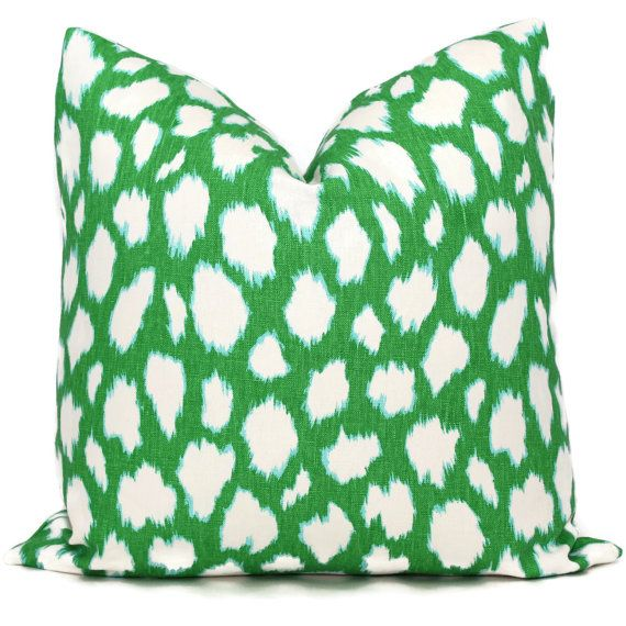 Kate Spade Kelly Green Leocat Pillow Cover Choose your size  Square, Eurosham or Lumbar pillow, Kravet fabric, toss pillow, red throw pillow