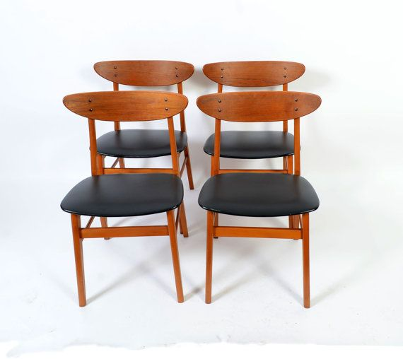 Four Teak Dining Chairs Farstrup No 210 By Hearthsidehome