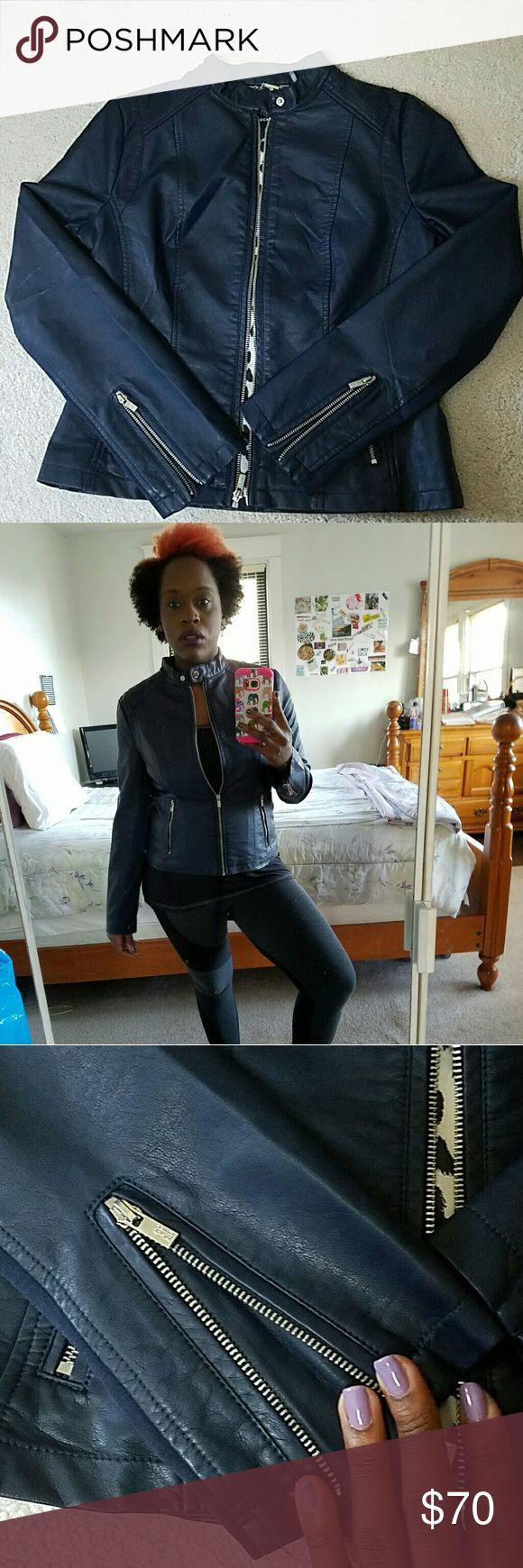 Selling this Midnight Blue Vegan Leather Jacket on Poshmark! My username is: jmickey317. #shopmycloset #poshmark #fashion #shopping #style #forsale #Black Rivet #Jackets & Blazers