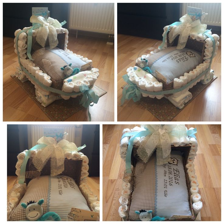 Geschenk zur Geburt / Baby / Windelgeschenk / Windelwagen mit personalisiertem Kissen