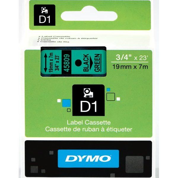 """Dymo D1 45809 Tape - 0.75"""" Width x 23 ft Length - 1 Roll - Polyester - Thermal Transfer - Green"""