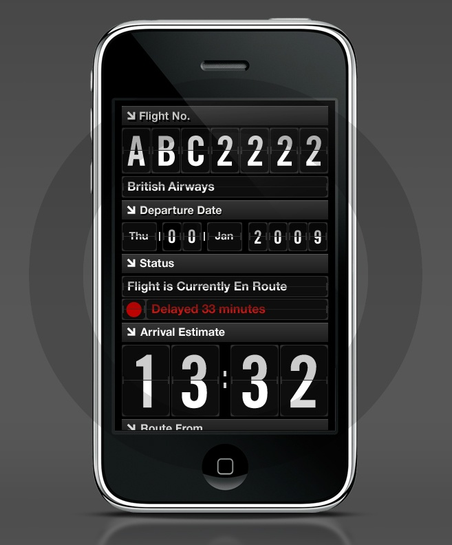 Flight Check - concept iPhone app for checking worldwide flights | Designer: Leigh Hibell of Made Digital - http://www.madedigital.co.uk/#/flightapp