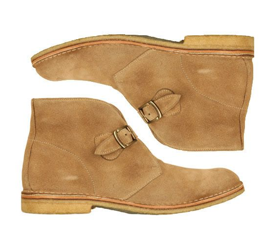 Handmade men monk strap tan color chukka boot Mens suede boot Men leather boot #Handmade #Ankle