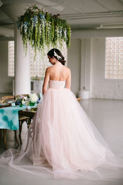 Pink tulle Mignonette bridal wedding dress: http://www.stylemepretty.com/illinois-weddings/chicago/2014/10/22/monets-water-lily-bridal-inspiration/   Photography: Katie Kett - http://www.katiekettphotography.com/