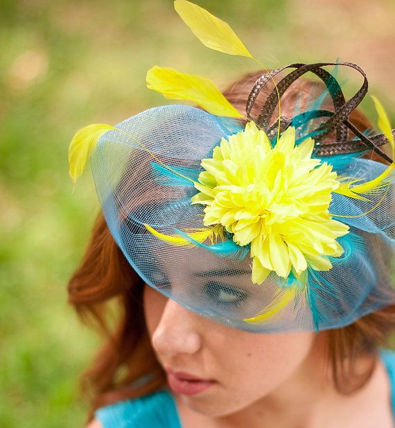 Fascinator, blue fascinator, wedding hat, fascinator veil, yellow fascinator hat Turquoise Yellow  SOUL