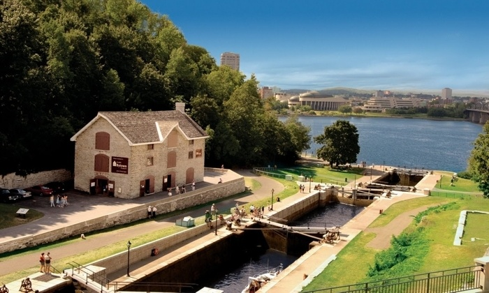 Rideau Canal locks, Bytown Museum and Ottawa River in Ottawa. Photo credit: Ottawa Tourism