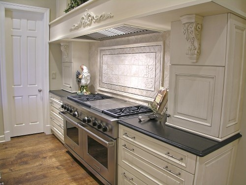 The countertop is Cambrian Black satin finish granite It has a matte finish and great texture
