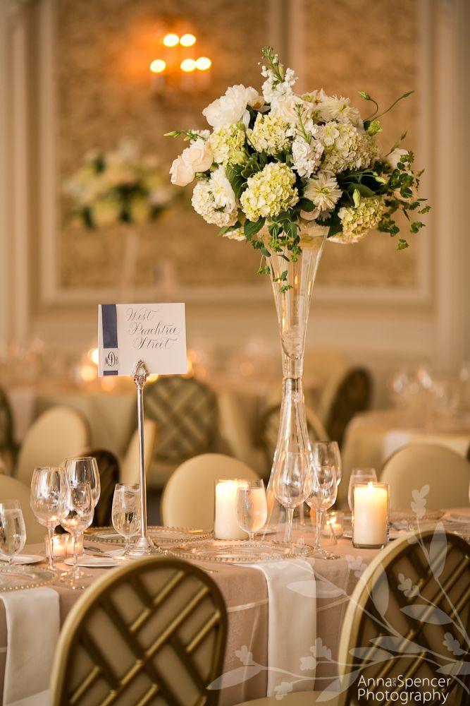 Anna and Spencer Photography, Wedding Reception Floral Arrangement by Daryl Wiseman Flowers Atlanta. Roses & Hydrangeas.