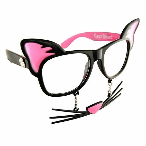 Sun Staches Clear Glass Cat Glasses Black Frames  Pink Ears Cat Nose Meow #PINK