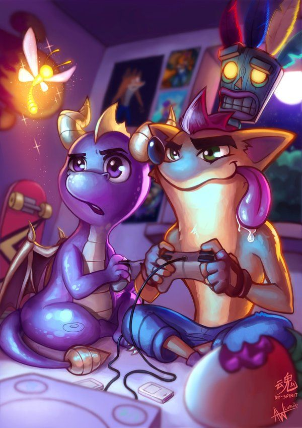 Spyro and Crash get together to play some video games