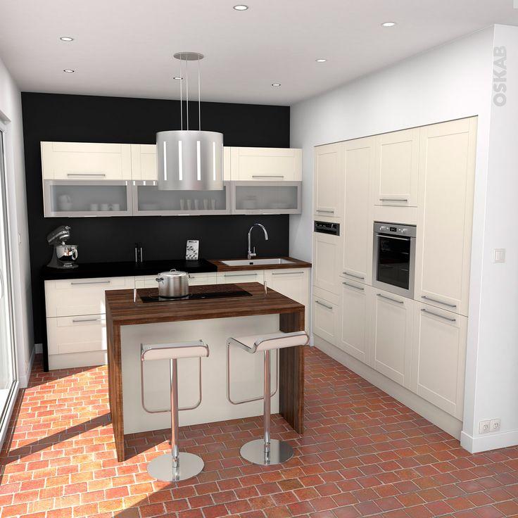 Idee Deco Chambre Gris Et Rose : oskab cuisine équipée ivoire bois moderne filipen ivoire mat cuisine