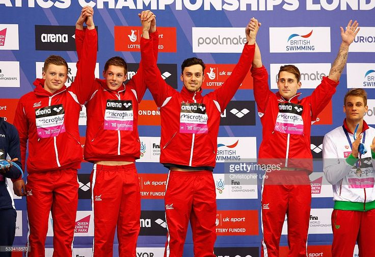 Christopher Walker-Hebborn, Adam Peaty, James Guy and Duncan W Scott of Great Britain celebrate winning the Men's 4x100m Medley Final during Day 14 of the 33rd LEN European Swimming Championships 2016 at Aquatics Centre on May 22, 2016 in London, England.