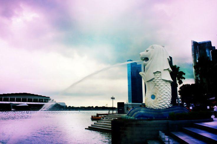 Singapore, Asia, Marina Bay, Merlion