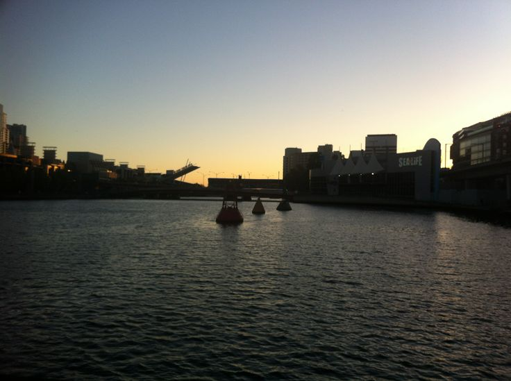 Sunset on Melbourne City and Yarra River.