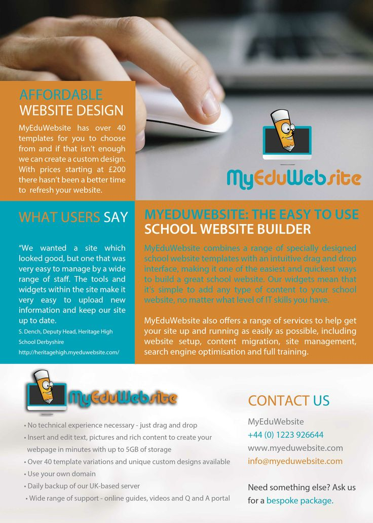 MyEduWebsite Flyer. Contact us in May 2014  for £75 off our Getting Started Package. www.Myeduwebsite.com - theeasy-to-use school website builder and school website design templates.