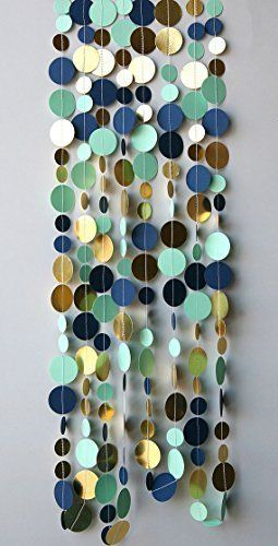 Navy gold garland,Gold mint garland,Navy blue Mint gold wedding decor, Metallic garland, Shimmer garland, Paper garland,, http://www.amazon.com/dp/B013BOP36M/ref=cm_sw_r_pi_awdm_0EIDwb6G09Z8K