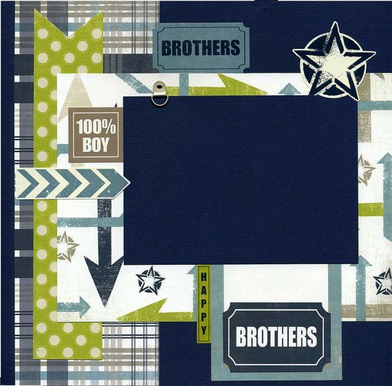 My scrapbook pages are handmade and ready for your scrapbook...just add photo. Not a scrapper? Frame this artwork for a unique gift and/or wall decor! This 12x12 layout was created using a mix of coordinating printed cardstock, textured cardstock, star sticker, photo anchor, arrow sticker, Brothers sticker, mini round brad, Happy sticker, Brothers die cut, and 100% Boy sticker.  Photo anchor is attached in a manner so that you can easily slip your photo underneath.  Designer is Susan Hub...