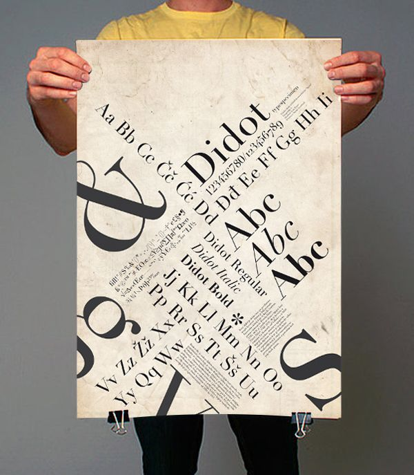 Didot typespecimen poster by Ivan Pucić, via Behance. love this layout for a poster - so many diagonals!