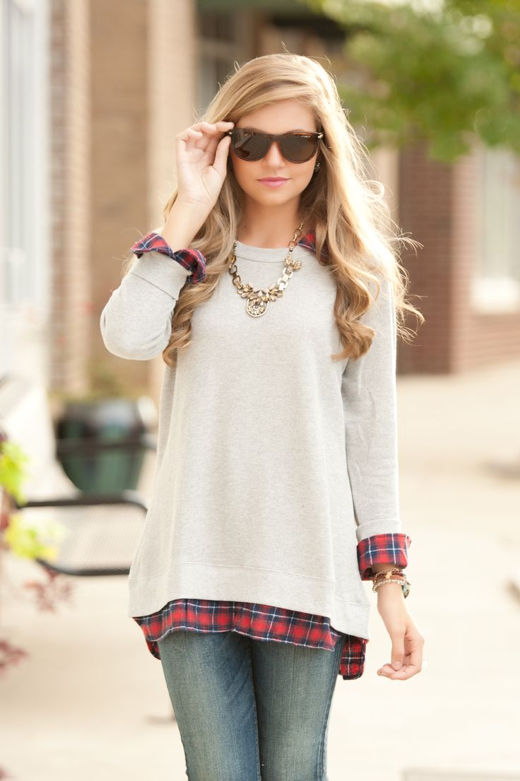 boyfriend plaid sweatie #swoonboutique
