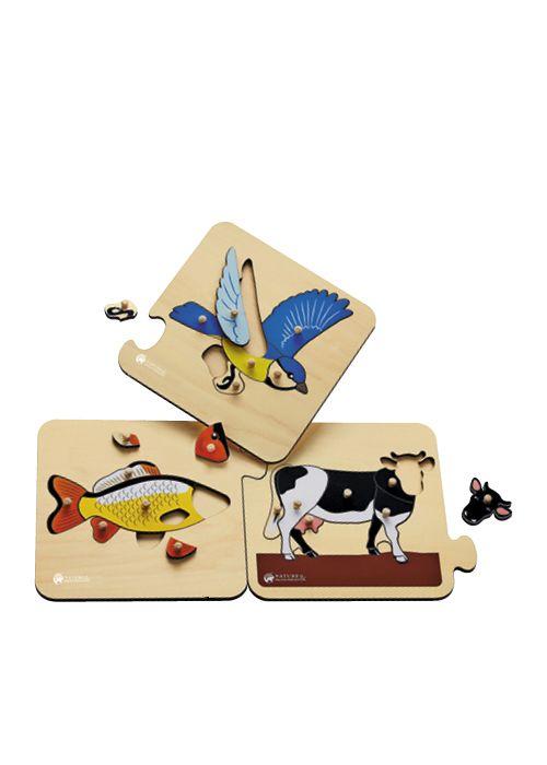 3 puzzles d'animaux vertébrés