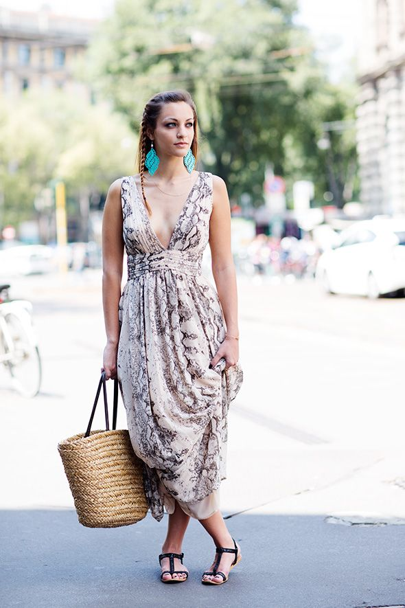Maxi Dress With Plunge Neckline Large Earings Braided Hair Straw Bag And Black Flat Sandals Outfit Ideas Pinterest Fashion Sartorialist Style