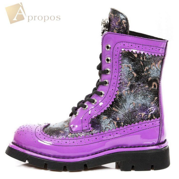 Stiefel Damen 9,5cm Boots Leder Lila Totenkopf Schnürung Vintage Apropos
