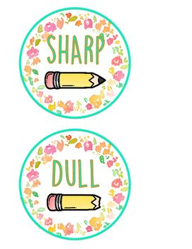 3 Different Flower labels with pencils to match your theme in order to keep your pencils organized throughout the day. Each color label includes a Sharp Pencil and Dull Pencil with photo.