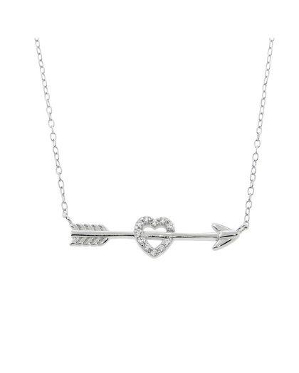 Sterling Silver Cupids Pave Heart and Arrow Necklace