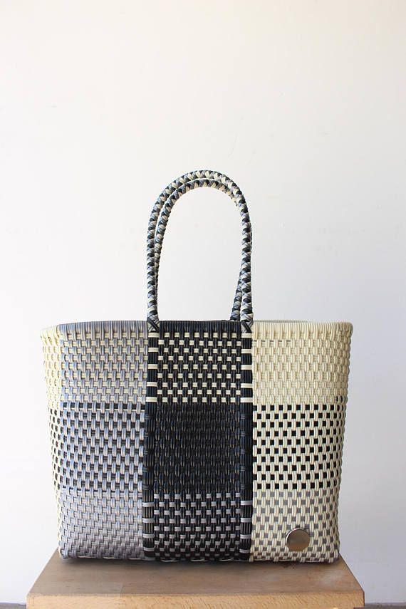 Black Silver & White Woven Tote bag Picnic Basket Beach