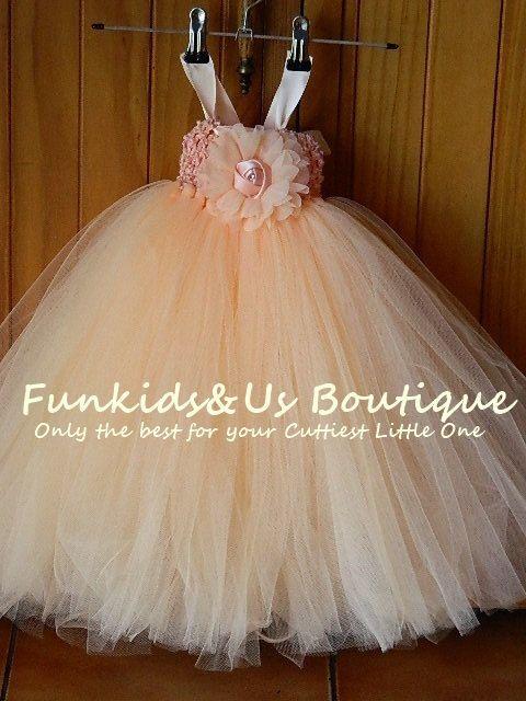 Baby Peach Tutu Dress Peach Flower Girl by FunkidsandUsBoutique, $48.12