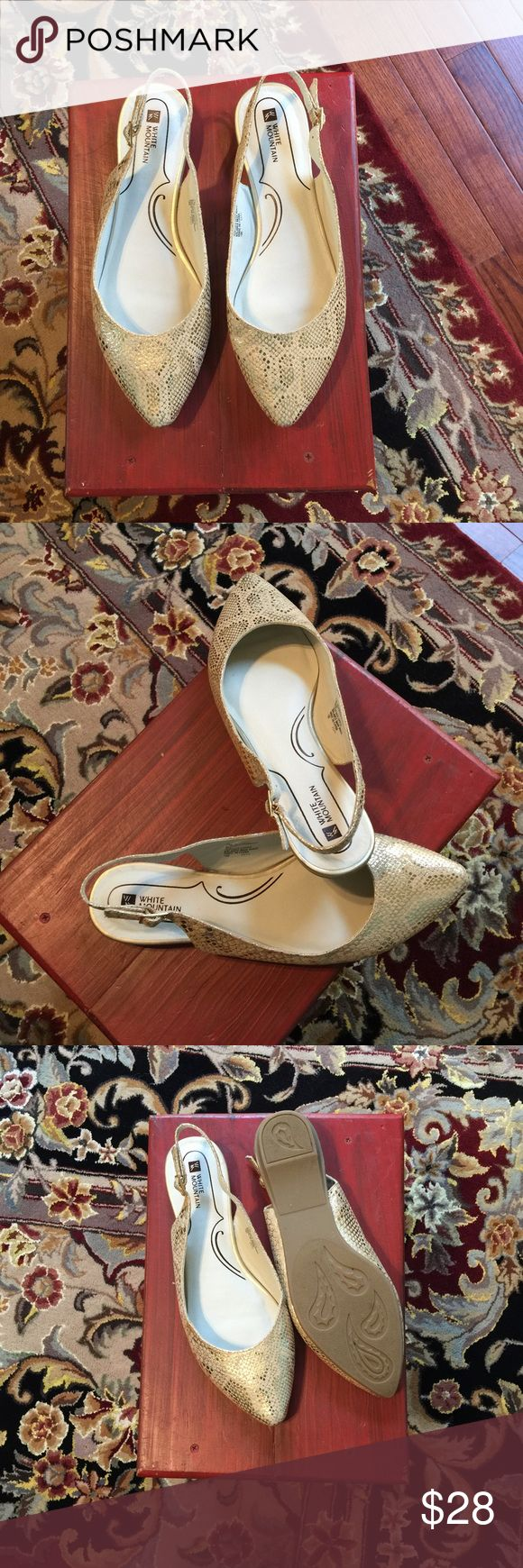 White mountain flats A festive sling back flat white mountain shoes. Great for a carefree day or night fun time. white mountain Shoes Flats & Loafers